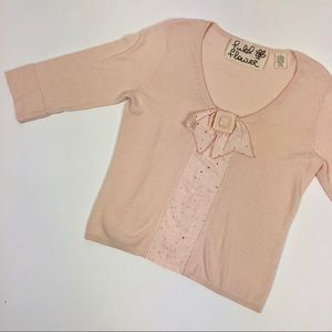 Anthropologie Fielel Flowers Cashmere Bow Sweater